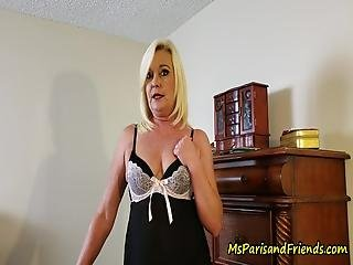 Aunt Paris Shaves Her Pussy And Trys On Lingerie While Her Nephew Watches After He Gets A Hard-on, She Gives Him Joi As She Masturbates Then Lets Him Fuck Her Hard And Cum All Over Her Milf Pussy