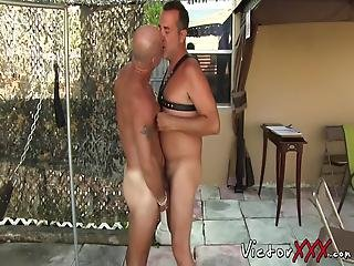 Two Gay Couples Having Backyard Party Take Turns On A Fuck Swing Drilling Their Butts And Rimming Before Having Orgasms