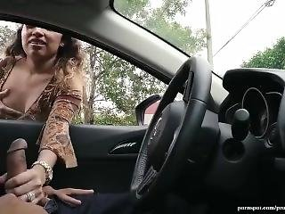 Busty Latina Gives A Guy Handjob Through Car Window In Public