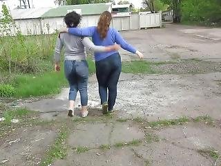 Two Girls Piss Themselves Inside A Truck