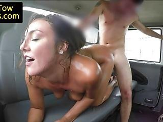 Amateur Nurse Doggystyled By Towtruck Driver On Backseat