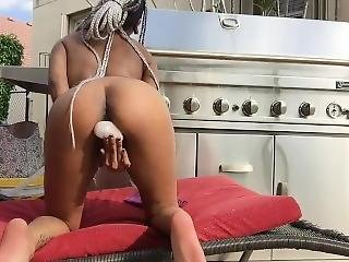 Fucking And Sucking A Crystal Dildo Outdoors