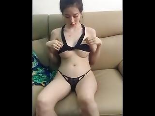 amateur, asiatisch, luder, gross titte, chinesisch, wunderschön, koreanisch, onanieren, solo, necken, webkam