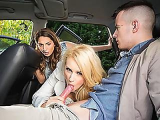 Hardcore Threesome Fucking Session In The Backseat With Angel And Jimena