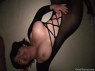 Cute Busty Girlfriend Crotchless Pantyhose Cumshot. Nylon Catsuit Bodystocking