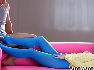 Blonde Chick Banged In Her Blue Pantyhose
