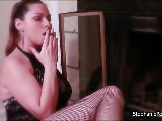 Stephanie Pearle - Smoking Curvy Brunette In Lace Dress, Fishnets And Heels