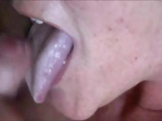 Amateur Grandma Licking His Shaft