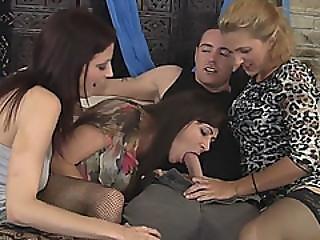 Three Stunning Cougar Whores Sharing One Big Dick
