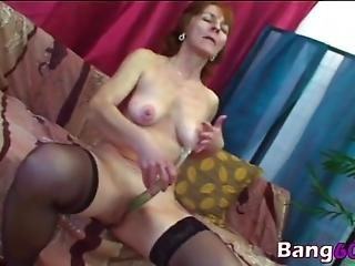 Sexy Granny Masturbates Her Pussy With A Toy Until Her Young Stud Comes In And Fucks Her Tight Milf Hole