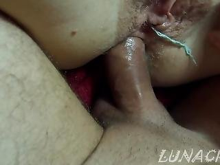 He First Fucks My Tight Ass With Tampon In My Pussy And Cum In Anal 4k