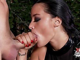 Busty housewife deepthroat gag