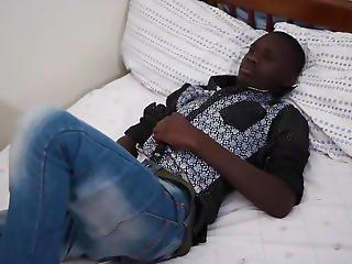 Dark African Twink Ben Beats Off
