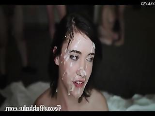 Beautiful Brunette Teen Gets Cum Covered In Bukkake Orgy