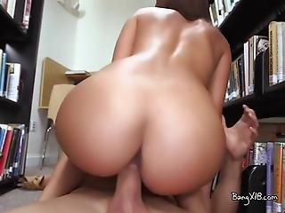 College Cutie Carrie Gets A Surprise Cumful In The Library