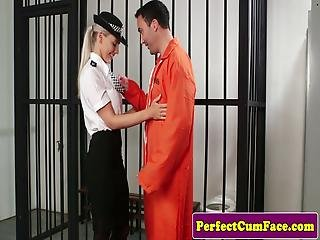 Big Tits Police Babe Facialized In Prison
