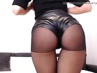 Black Leather Shorts And Pantyhose