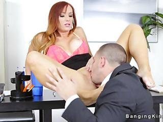 Employee Fucks His Big Tits Redhead Boss