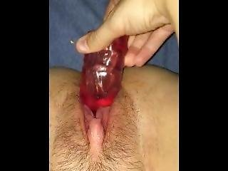 Close Up Teen Pussy Takes Pounding From Huge Dildo