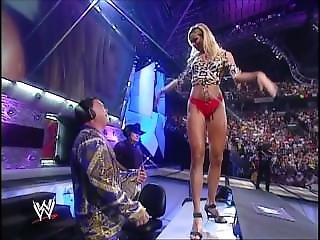 Stacy Keibler Dances On The Announcers Table On August 12, 2002