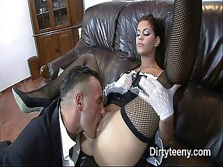 Long Hard Fucked Teen Maid Receives All The Big Cock Cum On Her Pussy And Legs