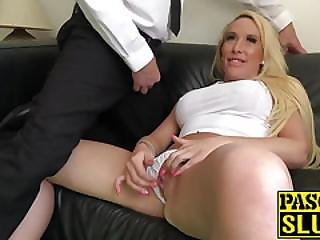 Hot Botox Blonde With Big Tits Rubs Her Pussy And Clit