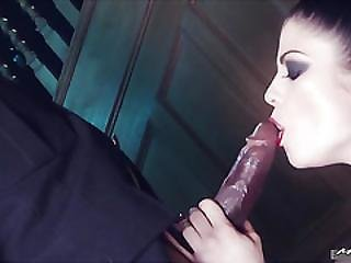 Lucia Love Wears Her Black Leather Collar When Its Time To Fuck, And