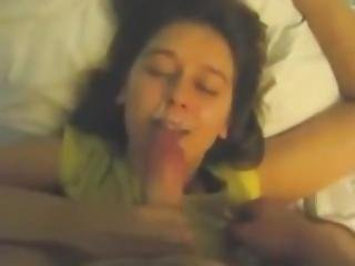 Smiling Girlfriend Hand And Blowjob Nice Facial