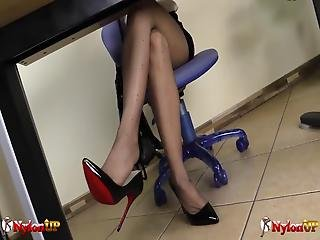 Sexy Redhead Irina Vega Plays A Secretary That, While Wearing Dotted Pantyhose, Gets Totally Naked And Masturbates With A Magic Wand