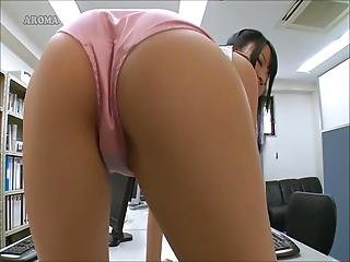 Asian Pink Panty Office Girl