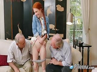 Teen Redhead Satisfied With That Big Grandpa Dick