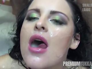 Premium Bukkake - Lola Swallows 51 Huge Mouthful Cum Loads