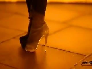 Sexy Lady Walking In Boots