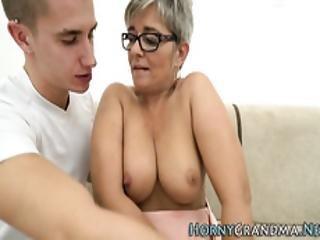blowjob, sperm, cumshot, briller, bestemor, hardcore, voksent, hore