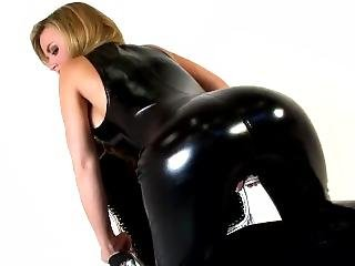 Jasmine In Leather Jumpsuit Excites His Booty And Breasts
