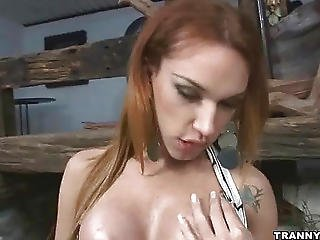 Tasty Shemale Hottie Tugging On Her Rock Hard Cock