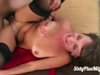 Jana Takes On A Big Cock In Her Aged Cunt