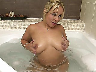 Corpulent Golden-haired Called Ashley Is Cheerful To Have Sex In The Washroom