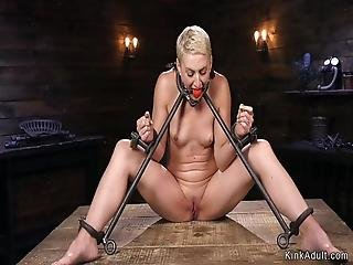 Blonde In Metal Device Nipples Suctioned