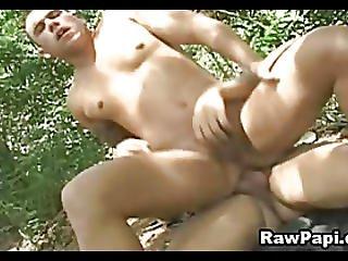Latino gays having hardcore barebacking scene
