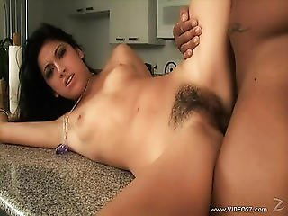 Dark Brown Legal Age Teenager With Unshaved Beaver Acquires Drilled And Swallows Cum