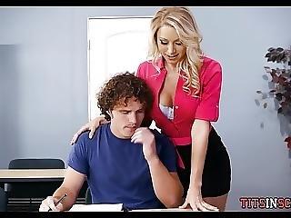 Blonde Teacher Slut Helps Student Study