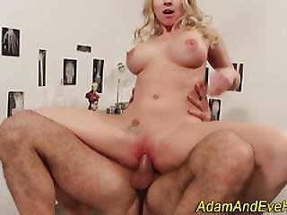 Blonde Babe Gets Jizzed