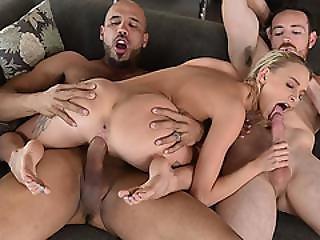 3some, rubia, blowjob, sexando, duro, pequeña, Adolescente, threesome