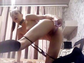 Kitty-cat Shove Long Dildo In Small Pussy