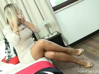 Ala Trying On Several Dresses In Nude Pantyhose And White Satin Panties