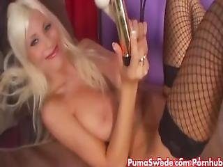 European Blonde Puma Swede Plays With Vibrators%21