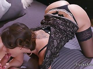 Brunette Milf In Lingerie Bangs In Bedroom