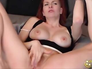 Charming Red Head With Huge Natural Dd Boobs