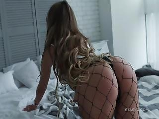 Gorgeous Amateur Russian Cutie Teasing Us With Her Big Boobs And Round Ass While Wearing Fishnet Stockings